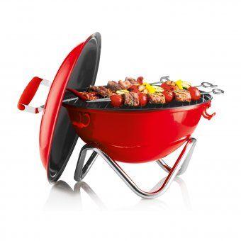 #grill #bbq #grillen #bodum #design #rot #red #gardenparty Bodum Grill Fyrkat Picknick – transportabler Holzkohlengrill mit Deckel von Bodum