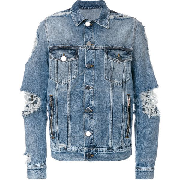 Balmain distressed denim jacket ($708) ❤ liked on Polyvore featuring men's fashion, men's clothing, men's outerwear, men's jackets, men, outerwear, blue, mens distressed denim jacket, mens short sleeve jacket and mens vintage jackets