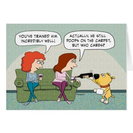 Funny Well-Trained, Wine-Serving Dog Birthday Card - click/tap to personalize and buy