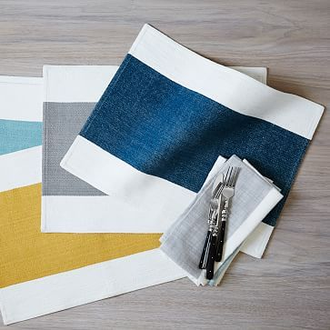 Nice outdoor placemats. Center Stripe Woven Placemat Set #westelm