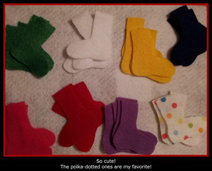 Five Pairs of Socks and make a clothes line for fine motor activities.  Think I will do mitten pairs too.
