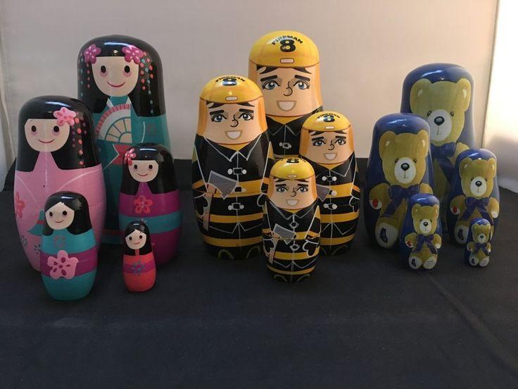 Matryoshka / Babushka Nesting Dolls– Set of 14 -Fireman / Japanese  / Teddy Bear in Dolls, Bears, Babushka Dolls   eBay!