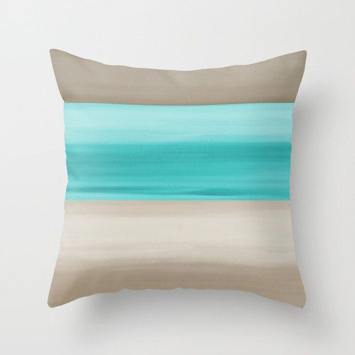 Throw Pillow Cover Teal Pillow Cover Taupe Pillow Cover Accent Pillow Cover Cushion Cover Home Decor Decorative Pillow Cover