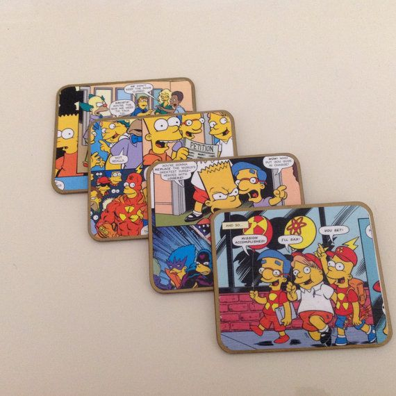 Simpsons Comic Coasters by ComicKamikaze on Etsy