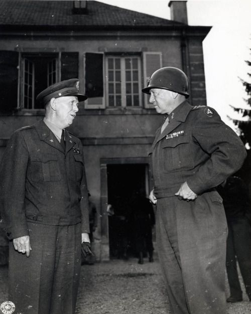 Generals George C. Marshall and George S. Patton Jr....