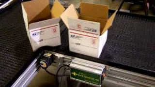 Corner Turn or End-to-Side Transfer of boxes on Modular Conveyor System