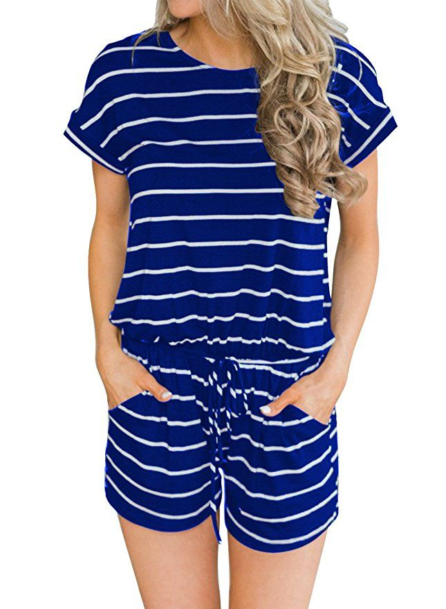 0e5ccd04748 MIHOLL Women s Summer Striped Jumpsuit Casual Loose Short Sleeve Jumpsuit  Rompers (Blue