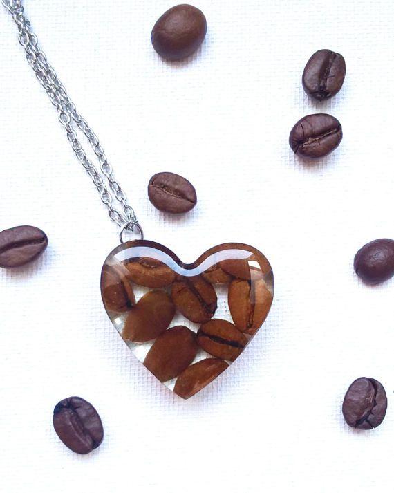 Café collier - véritable grain de café Bijoux - Pendentif - Transparent - presse-papier en résine - pendentif coeur - mais premier café - cadeaux Saint-Valentin