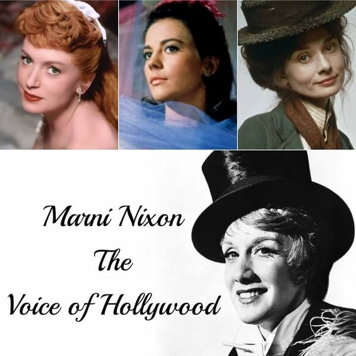 Remembering Marni Nixon who died on July 24, 2016 aged 86 RIP An American soprano and playback singer for featured actresses in movie musicals, who was best known for dubbing the singing voices of the leading actresses in films, including (top, L-R) Deborah Kerr (The King and I, 1956), Natalie Wood (West  Side Story, 1961) & Audrey Hepburn (My Fair Lady, 1964)  https://en.m.wikipedia.org/wiki/Marni_Nixon