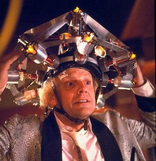 Doc Brown and his thinking cap from Back To The Future.