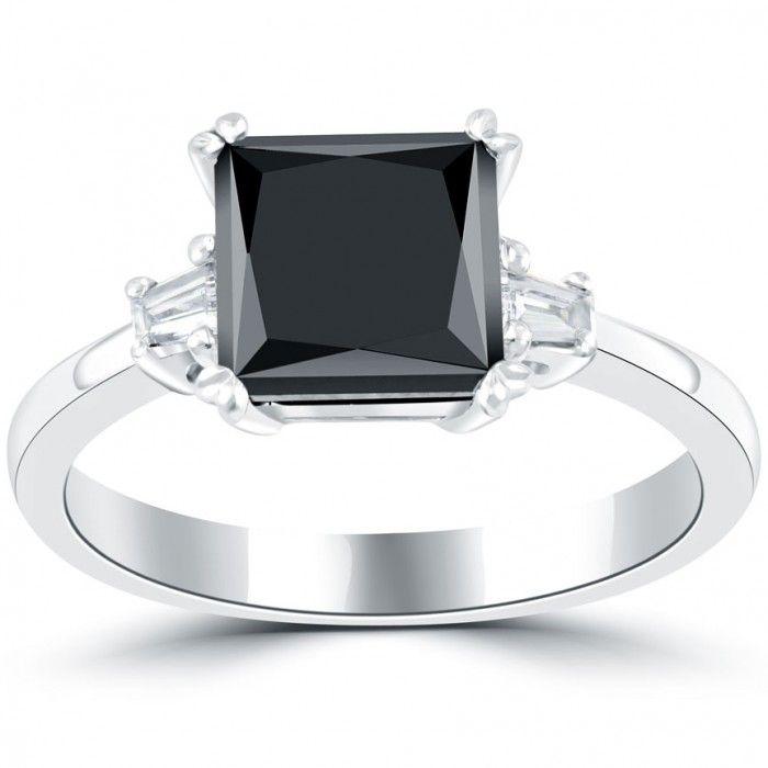 2.31 Carat Certified Princess Cut Black Diamond Engagement Ring 14k White Gold - Thumbnail 1