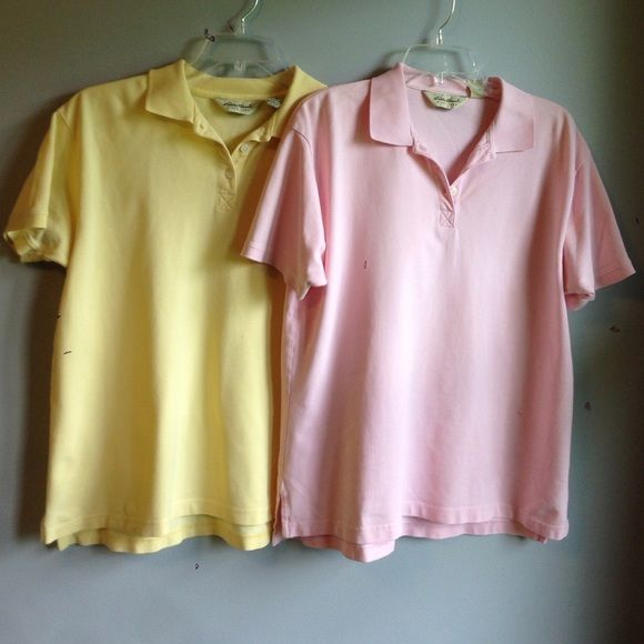 BUNDLE!!! Pink polo shirt and yellow polo shirt Eddie Bauer pink knit polo shirt! Button up with small slits on side at hem. Great condition!! Also a yellow polo shirt. Eddie Bauer Tops