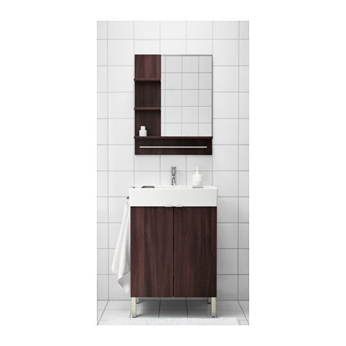 LILLÅNGEN Wash-basin base cabinet w 2 doors - black-brown - IKEA