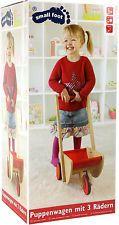 Poussette pour poupée avec 3 Roues en bois Pneus caoutchouc env. 35 x 25 52 cm