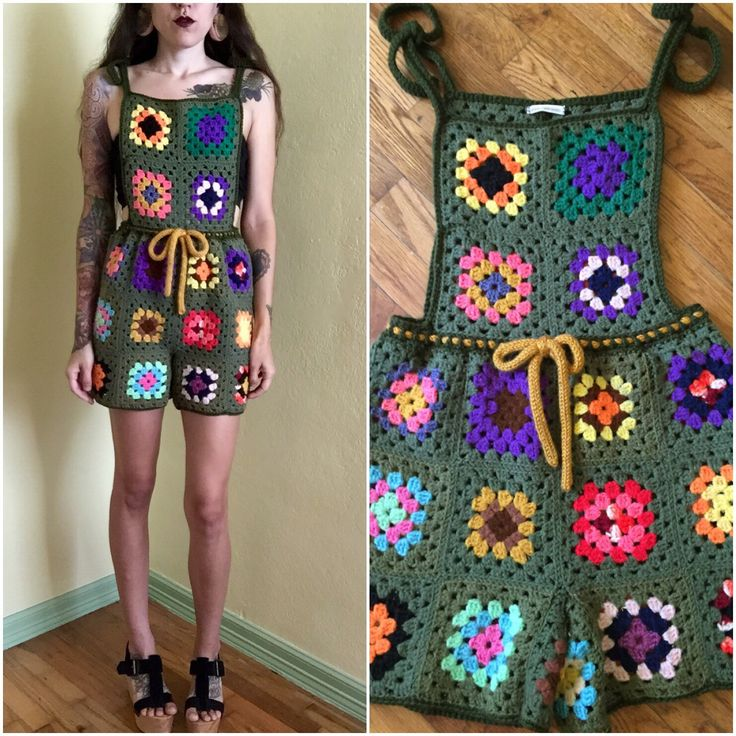 A personal favorite from my Etsy shop https://www.etsy.com/listing/469649477/granny-square-crochet-overall-jumpsuit