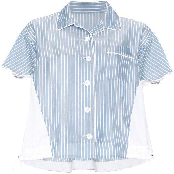 Sacai striped pyjama shirt featuring polyvore, women's fashion, clothing, intimates, sleepwear, pajamas, blue, striped pajamas, striped pjs, striped pyjamas, blue pajamas and sacai