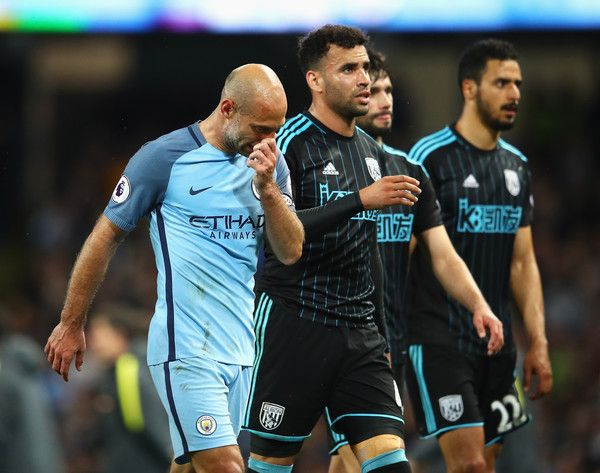 Pablo Zabaleta Photos Photos - Pablo Zabaleta of Manchestr City  looks thoughtful after the Premier League match between Manchester City and West Bromwich Albion at Etihad Stadium on May 16, 2017 in Manchester, England. - Manchester City v West Bromwich Albion - Premier League