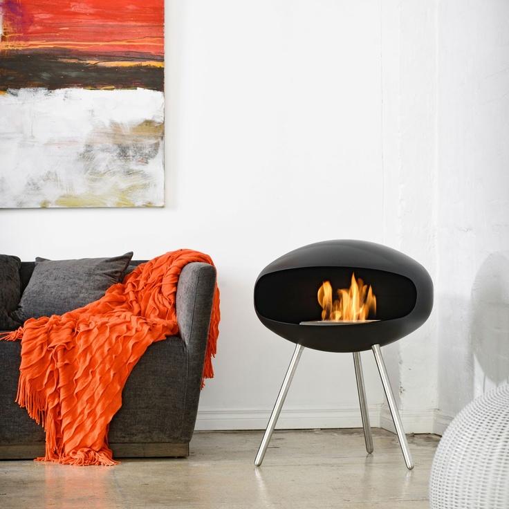 Chimenea bioetanol diseño Terra Cocoon Fires negro