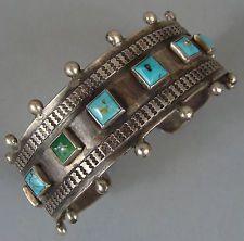 Early VINTAGE Harvey Era NAVAJO Turquoise Row Bracelet w/SNAKES & Arrow…