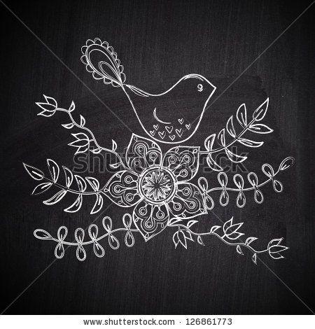 Chalk drawing greeting card with cute bird on chalkboard blackboard by Markovka, via ShutterStock