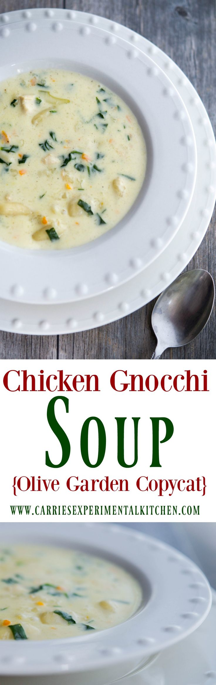 Enjoy one or your favorite restaurant copycat soups at home with my version of Olive Garden's Chicken Gnocchi Soup.