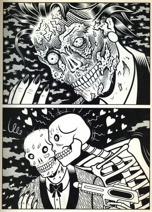 Untitled strip by Charles Burns from Taboo vol. 4, published by SpiderBaby Grafix and Publications, 1990.