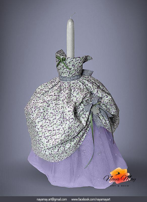 '' Ανοιξιάτικος περίπατος '' Πασχαλινή Λαμπάδα, φόρεμα από φλοράλ βαμβακερό ύφασμα με τούλι, κορδέλες λινές, γκρό κορδέλες, διακοσμητικό αντικείμενο λουλούδι από πλεξιγκλάς.