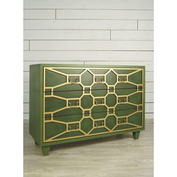 """Большой зеленый комод """"Emerald"""": цвет зелёный, массив березы, Бельгия - артикул DSC347ETG - Этажерка"""