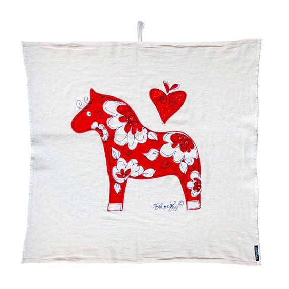 Swedish Dala horse flour sack towel Tröskö design by TroskoDesign