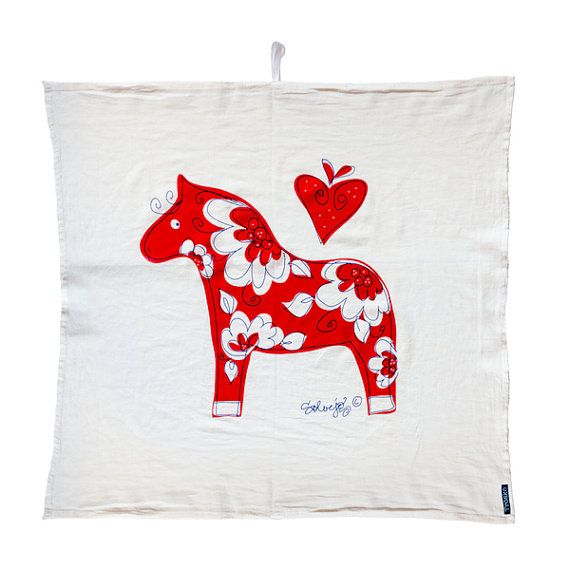 Swedish Dala horse flour sack towel Tröskö design by TroskoDesign