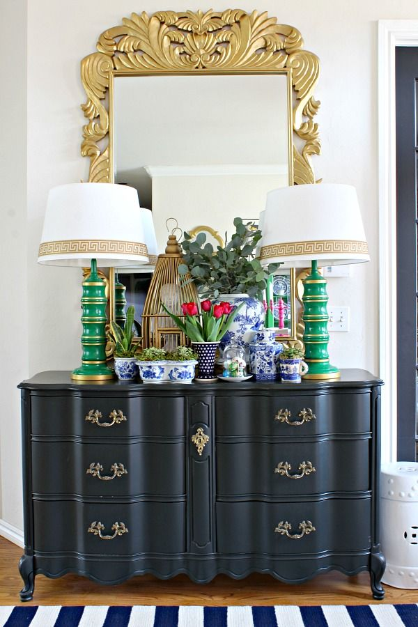 Love all the blue pieces with the pop of green and of course the red tulips in this entry - from Spring Home Tour      Dimples and Tangles