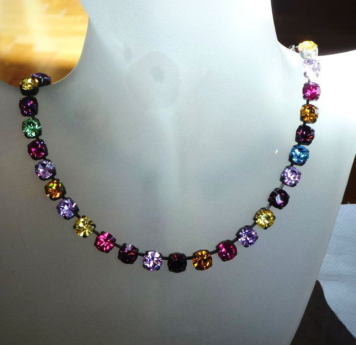 MOMA Swarovski crystal 8mm tennis style necklace multicolour - elenamaratos crystal jewelry