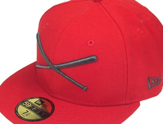 Logo Red-Grey 59Fifty Fitted Baseball Cap by JUST FITTEDS x NEW ERA