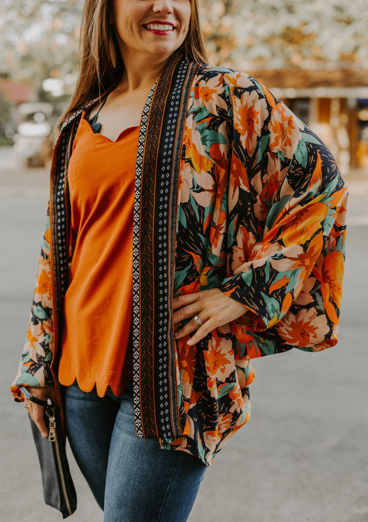 Floral print long sleeve kimono long sleeve kimono