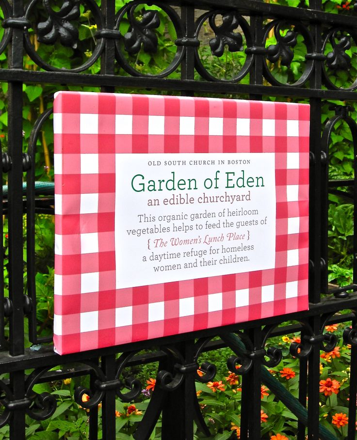 Sign For Garden Of Eden, Old South Church's Vegetable