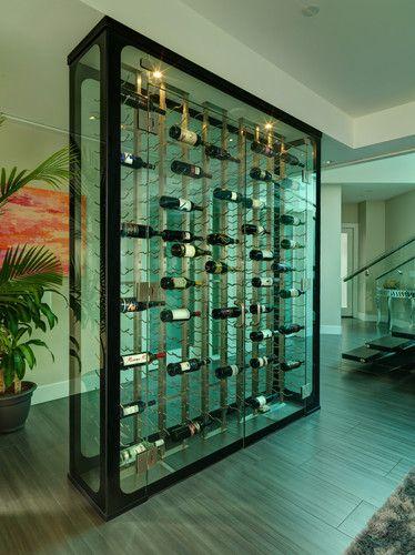 All Glass Wine Cellar - modern - wine cellar - vancouver - Blue Grouse Wine Cellars