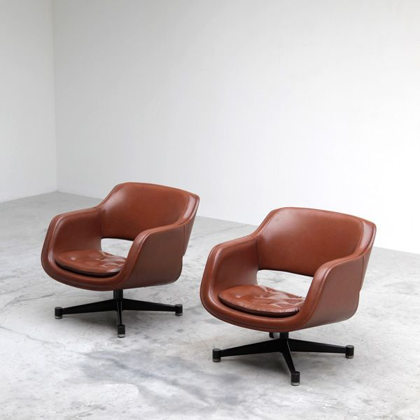 Eero Aarnio; Painted Metal and Leather 'Grand Chairs' for Asko, 1962.