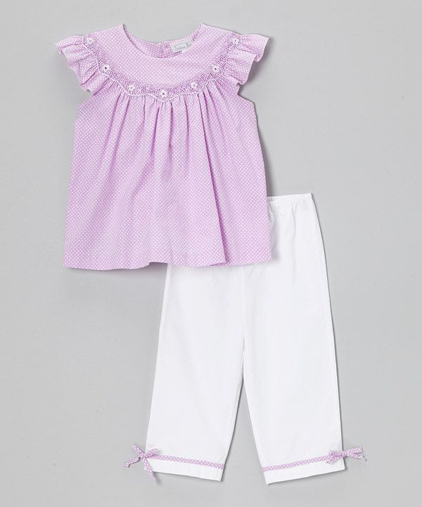 Look at this Fantaisie Kids Purple & White Pin Dot Tunic & Pants - Infant, Toddler & Girls on #zulily today!