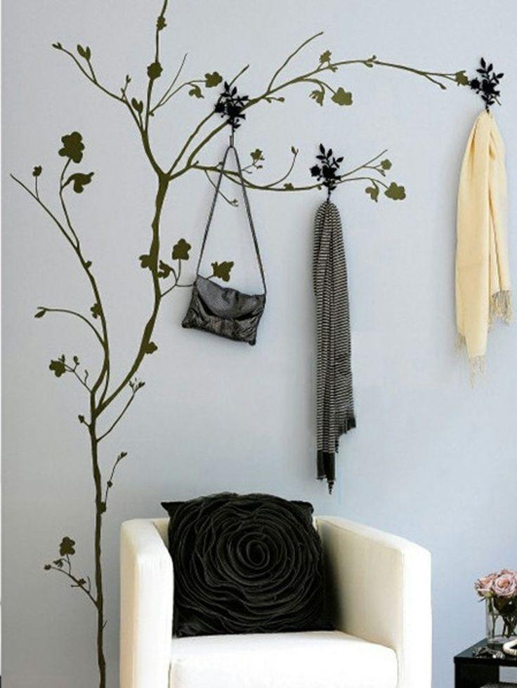 Wandtattoos im Wohnzimmer Baum mit Haken