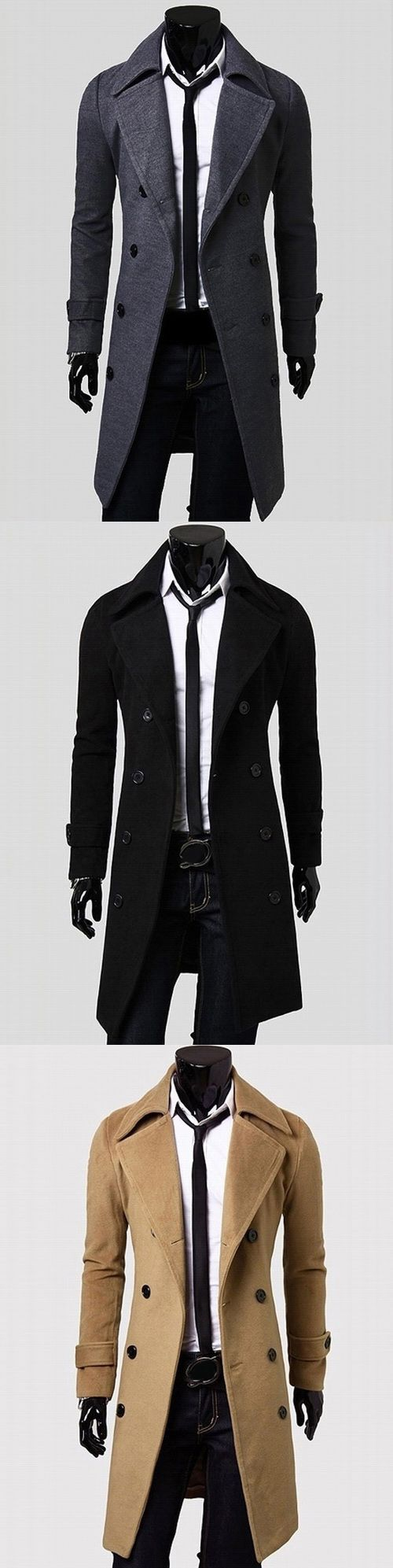 $16.31,Double Breasted Overcoat with Side Pockets | rosewholesale, rosewholesale for men, coat, overcoat | #rosewholesale #coat #mensoutfits