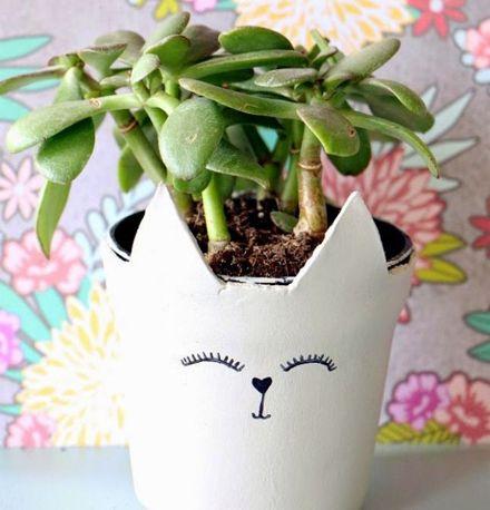 DIY Clay Cat Planter