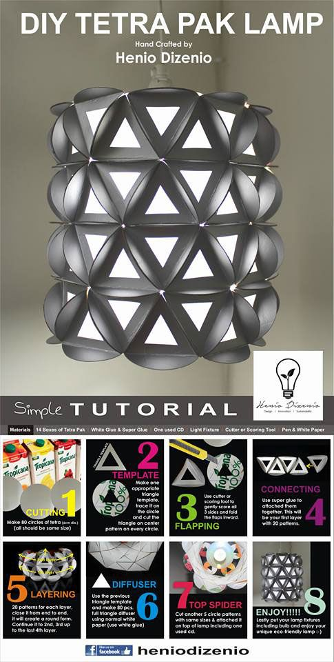 DIY TETRA PAK LAMP on Behance Mais                                                                                                                                                                                 Mehr