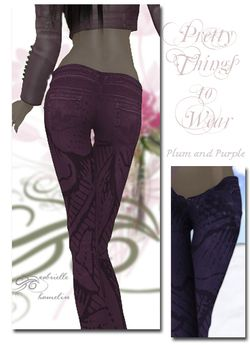 Plum and Purple Floral Texture Jeans - Two Colours 11 -14