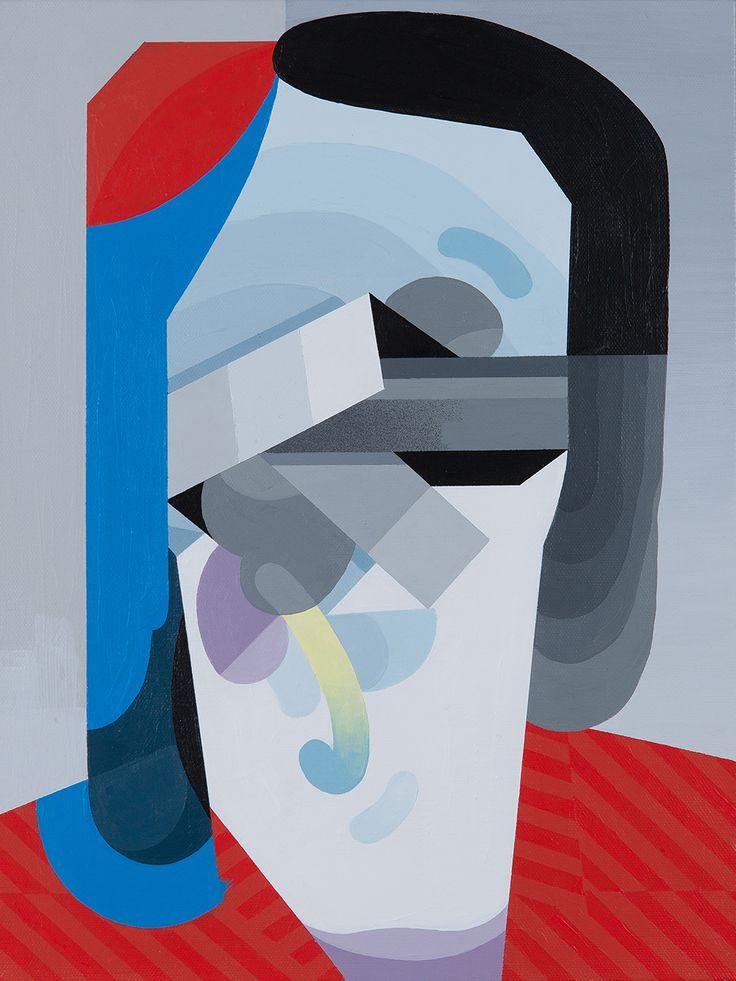 """Tobias Kroeger, """"Breathe"""" Acrylic on Canvas, 2016, 30x40cm - Cubist, Contemporary, Art, Painting, Geometric, Portrait"""