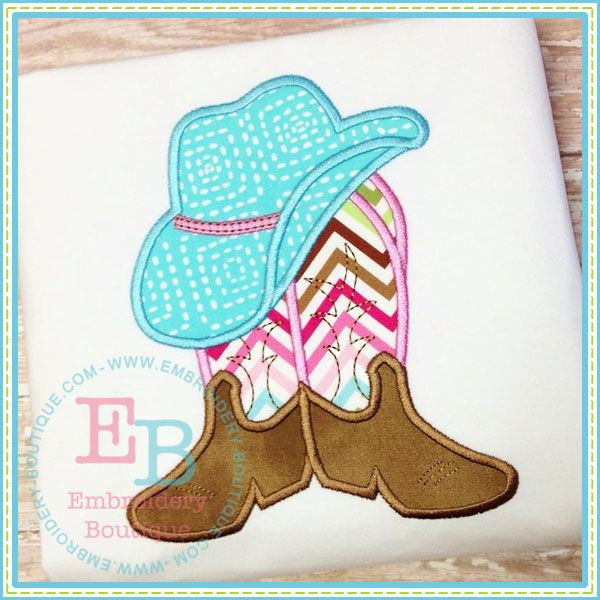Boots N Hat Applique, EMBROIDERY BOUTIQUE