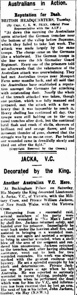 """WWI, 20 Nov 1916, Cpt Bean:"""" Australians have established a reputation amongst the Germans for attacking with outstanding dash."""" -The Argus, Melbourne"""