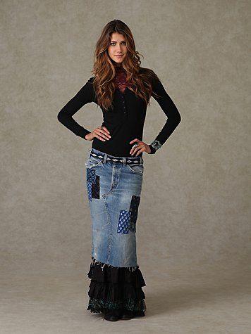 Free People Merries Ruffled Denim Patchwork Skirt