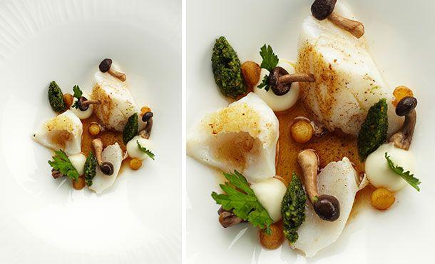 Kabeljauw met peterseliewortel, shii-take en hazelnootboter - Bart Desmidt - www.mastercooks.be !