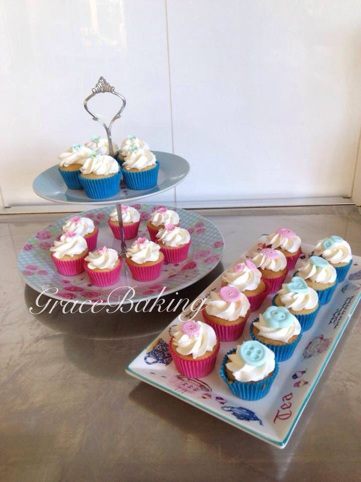 Mini cupcakes with button and blossom detail by Grace Baking