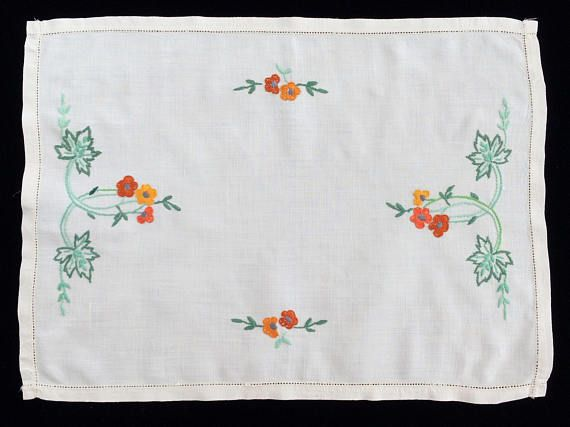 Linen Placemat or Tray Cloth. Vintage Hand Embroidered Off White Oblong Linen Doily or Placemat with Ajour (Openwork) Border RBT1839
